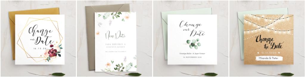 Change the date kaartjes voor uitgestelde bruiloft