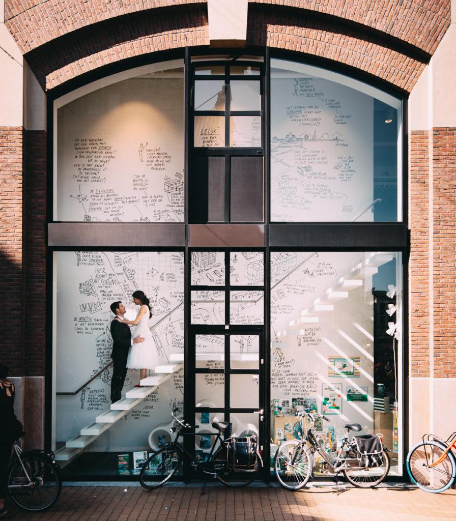 Trouwfoto Groningen Stad Boekhandel Van der Velde Groningen